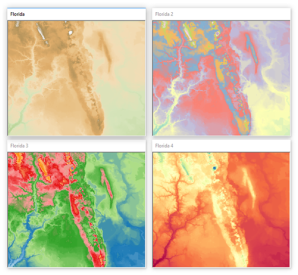 Various palette combinations applied to the same terrain data.