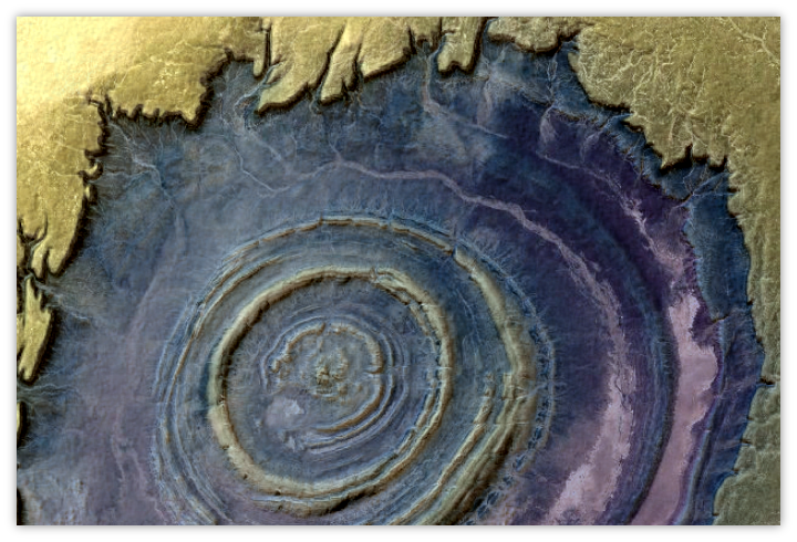 Richat Structure: SRTM synthetic terrain blended with contrast-enhanced Bing satellie and 7x7 Profile Curvature ehancement.